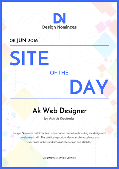 Site of The Day Certificate