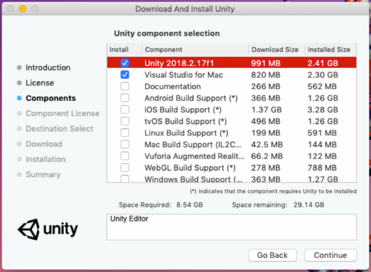 Unity component selection