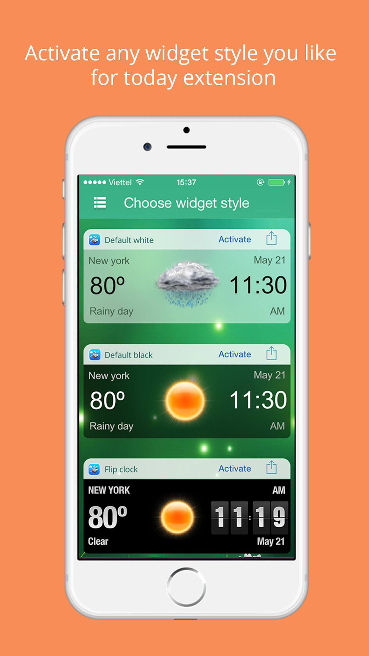 Weather Widget - Unique styles for Today Screen