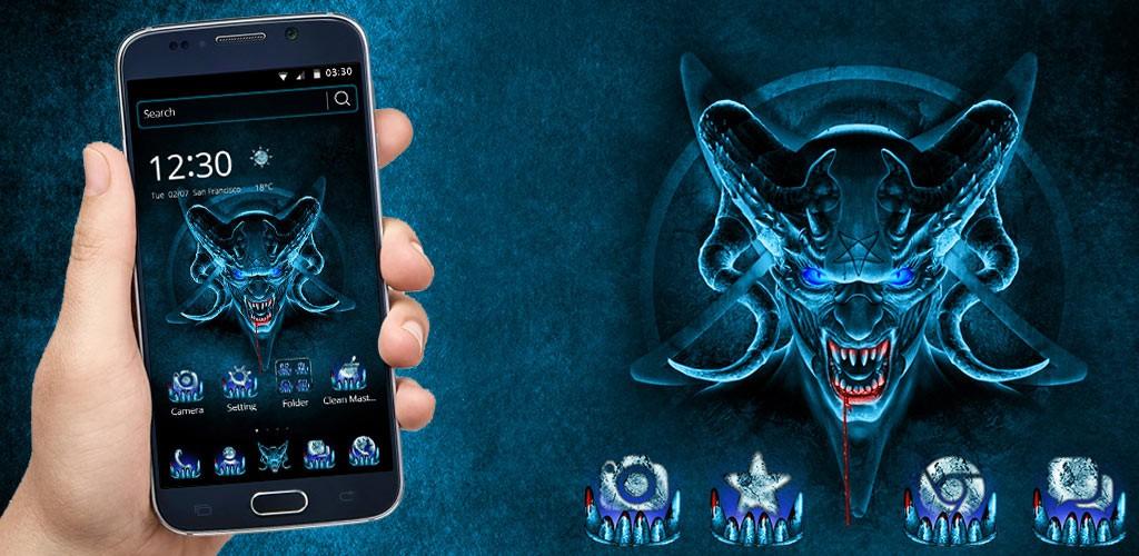 Horror Evil Blue Skull