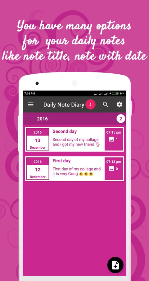 Daily note diary