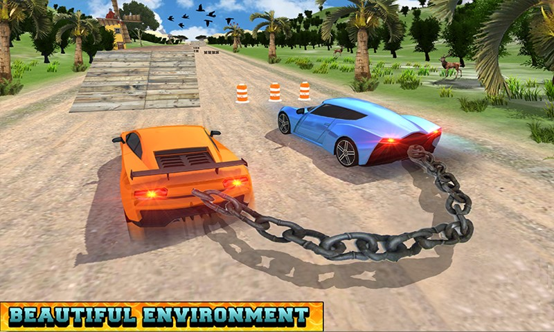 Chained Cars Racing Stunts