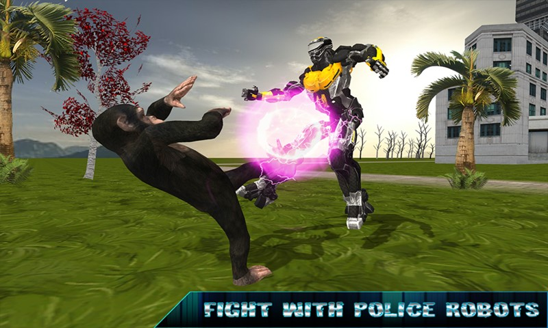 Flying Apes vs Police Robot Survival