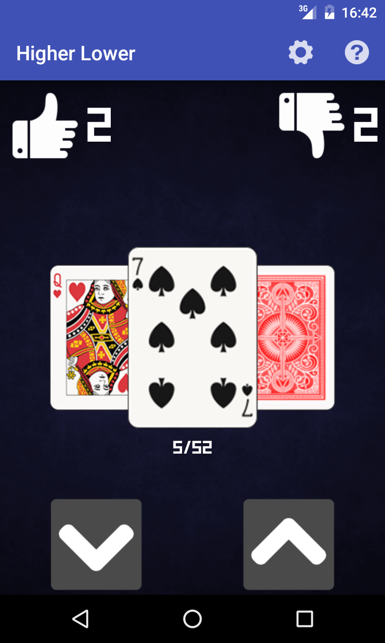 Higher Lower Card Game
