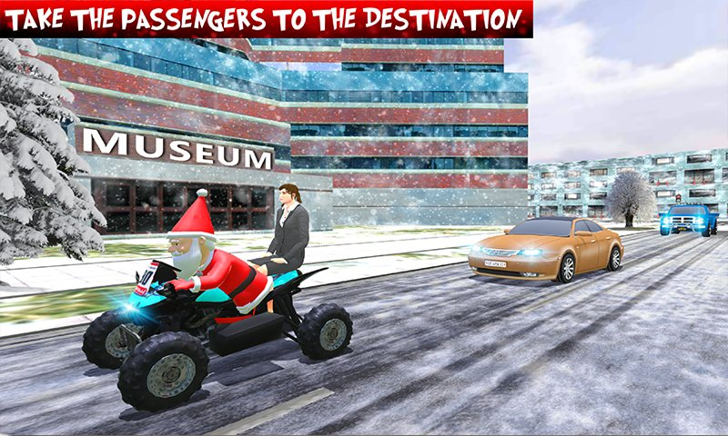 ATV Quad Bike Taxi: Crazy Santa