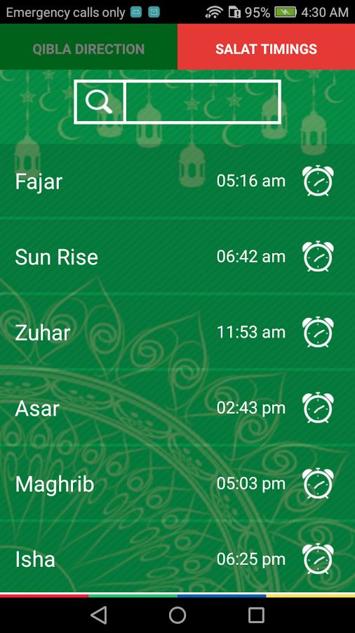 Qibla direction with Salah Timings