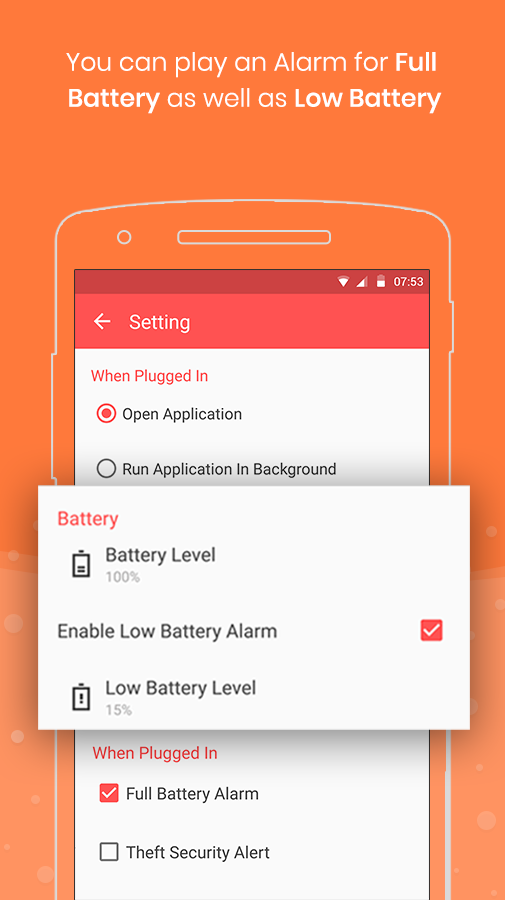 Full Battery Charge Alarm and Theft Security Alert