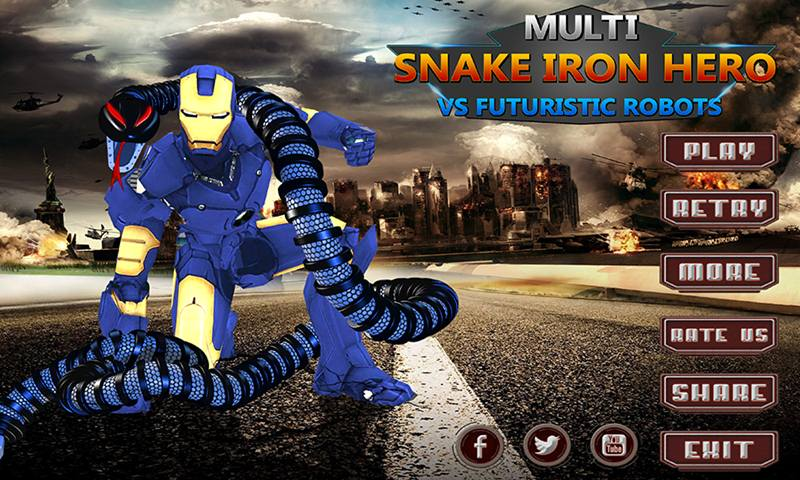Multi Snake Iron Hero Vs Futuristic Robots