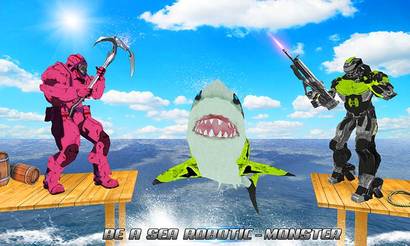Real Robot Shark Hero Vs Super Villain Robots
