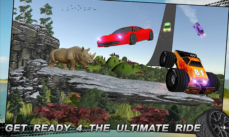 Free Fall Jungle Mega Car Ramps 3D Stunts