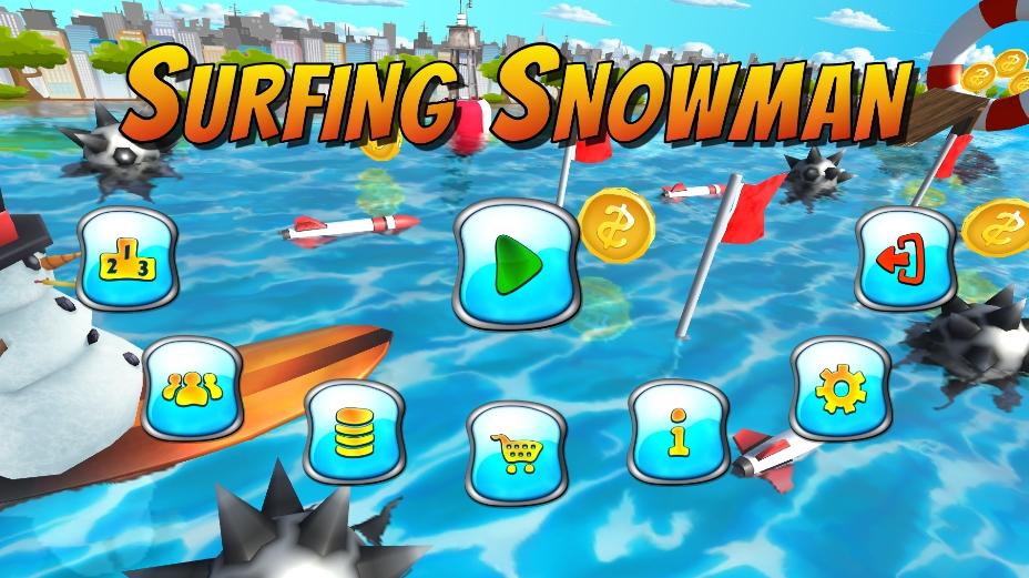 Surfing Snowman