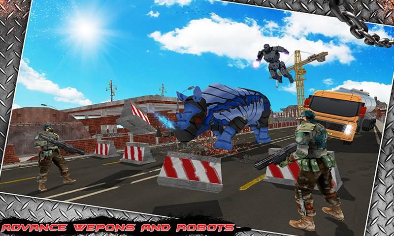 Multi Police Rhino Robotic Car vs Evil Robots