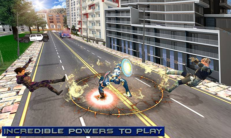 Flying Captain Robot Laser Superhero Crime Battle