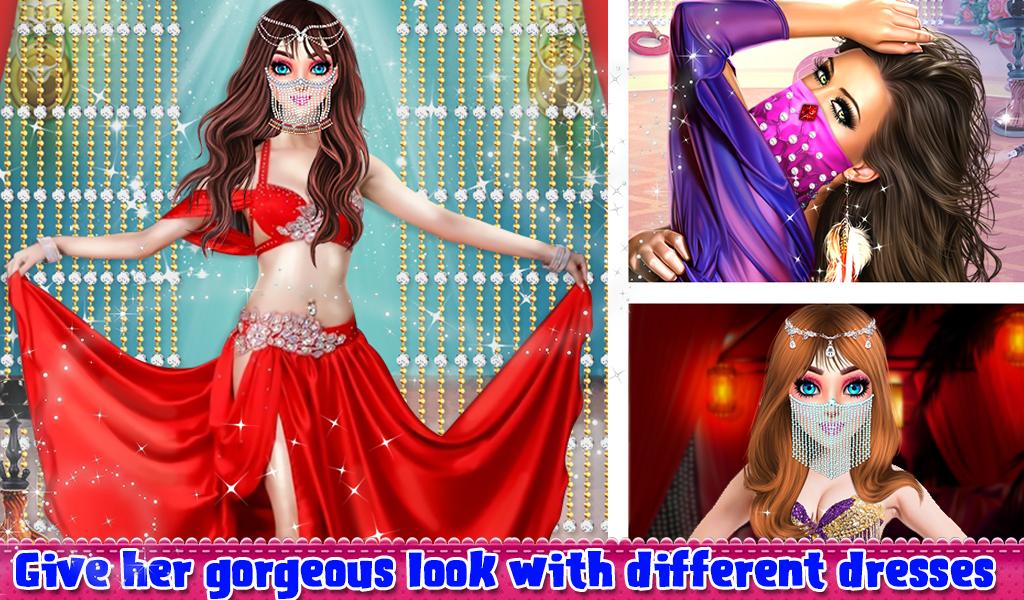Beautiful Belly Dancer Girl Salon Stylish Dressup