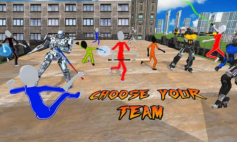 Futuristic Battle: Robotic Hero Vs Stick Villains