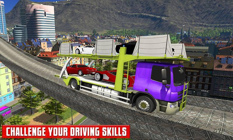 Multi Car Transporter Truck: Vertical Ramp Sim