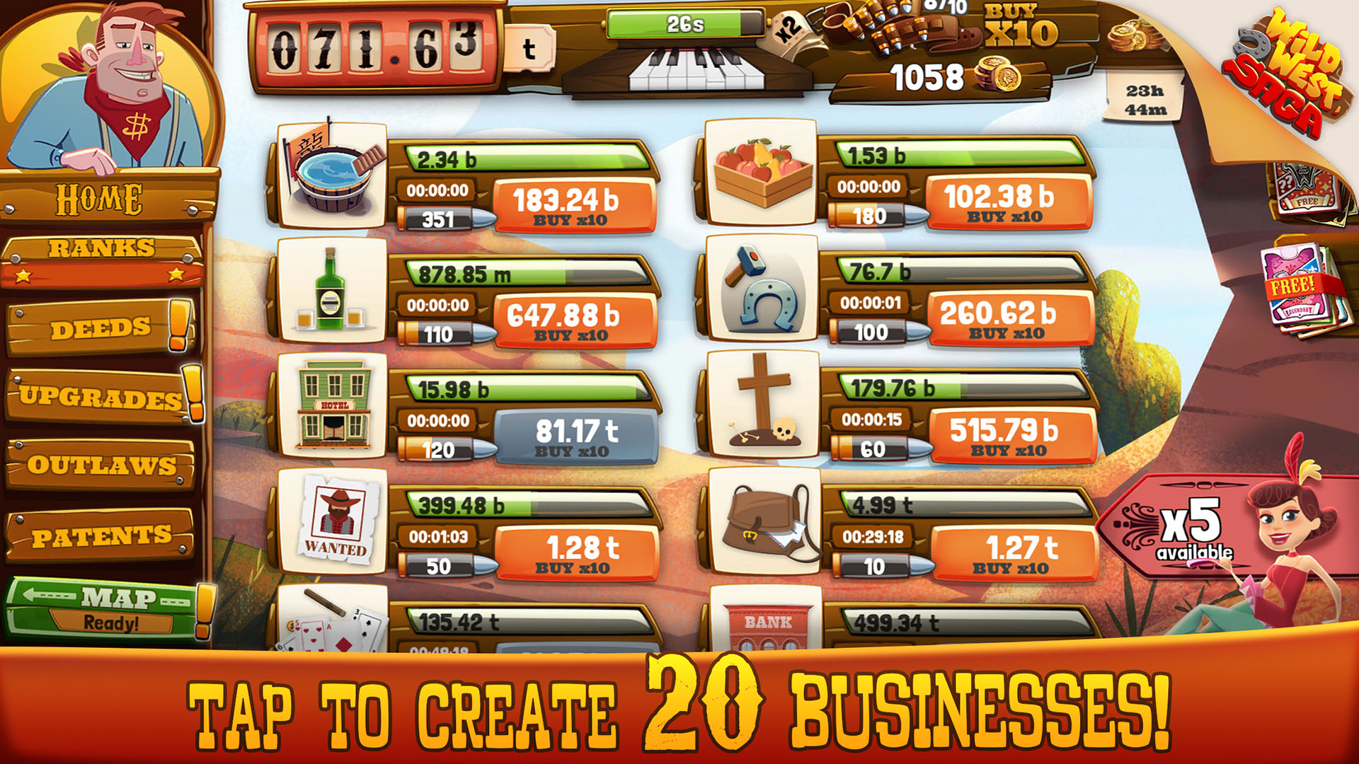 Wild West Idle Tycoon