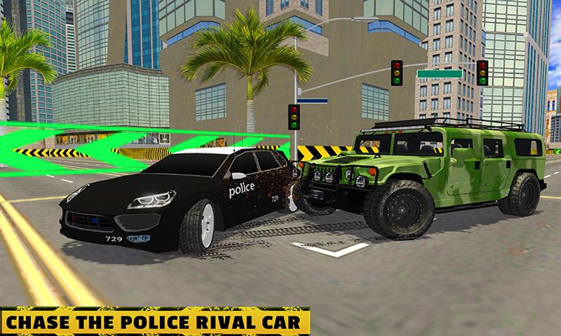Police Vs Army Street Car Race