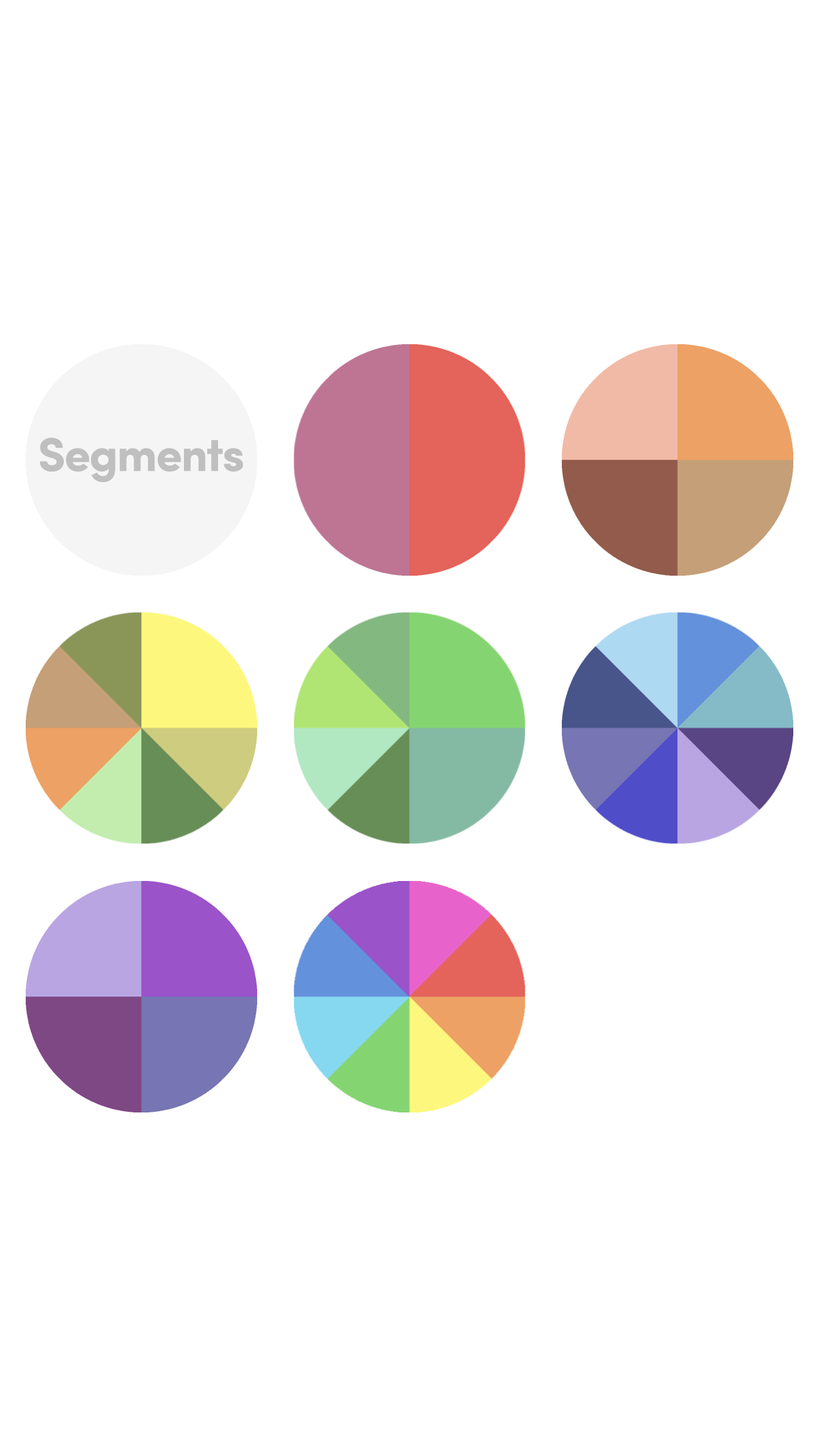 Segments rainbow series