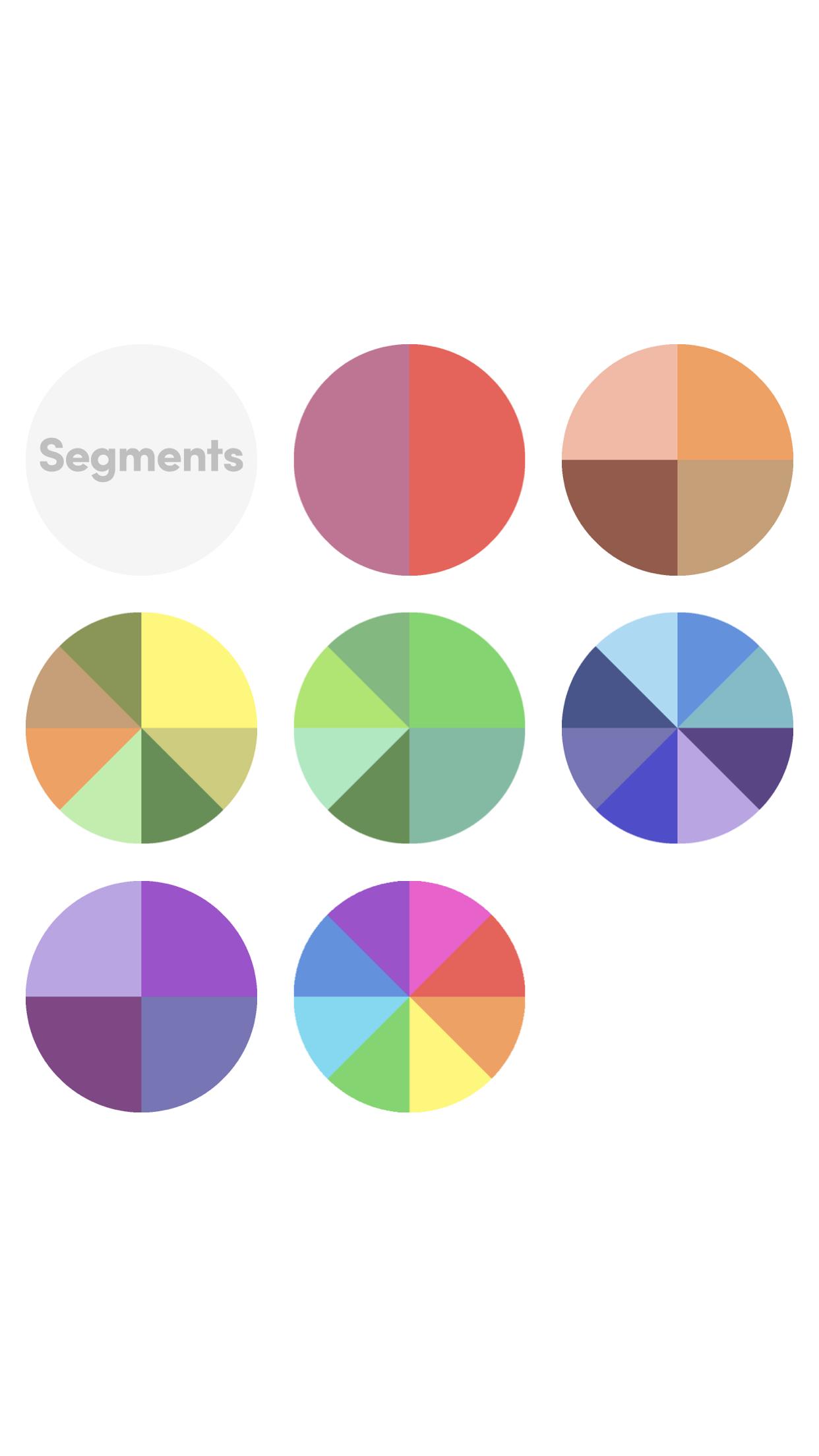 Segments rainbow series