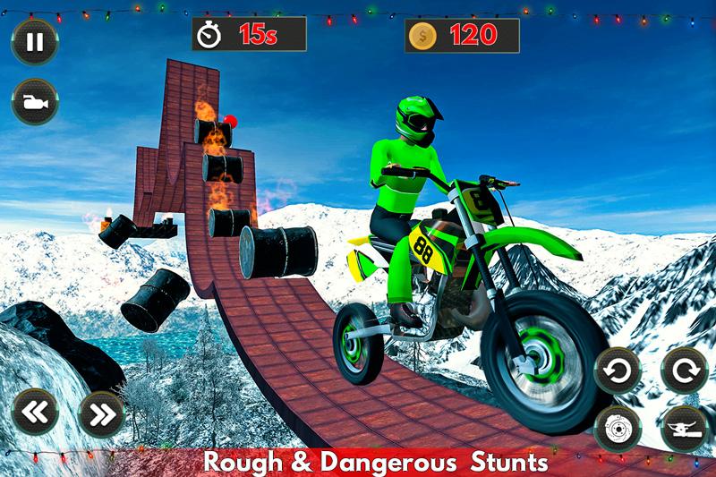 Stunt Bike Snow Racing Tricks