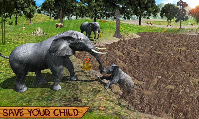 Wild Elephant Family Simulator
