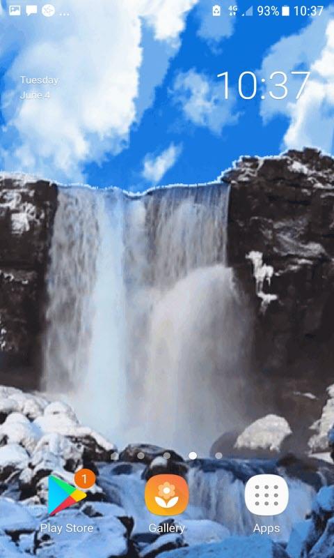 Cloudy Waterfall View LWP