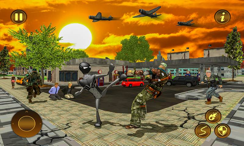 Panther Stickman Rope Hero City Crime Survival