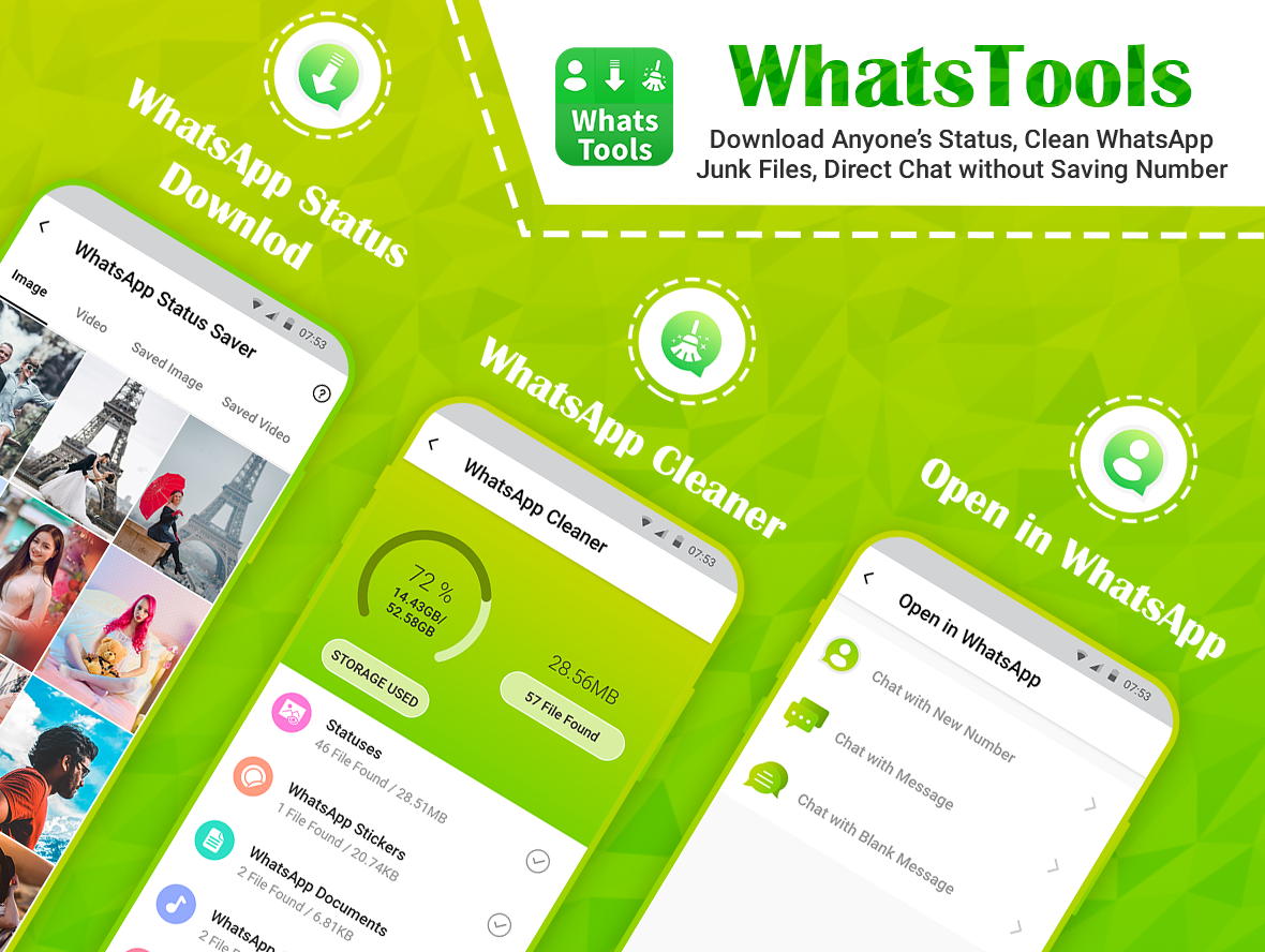 WhatsTools: Status Saver, Direct Chat and Cleaner