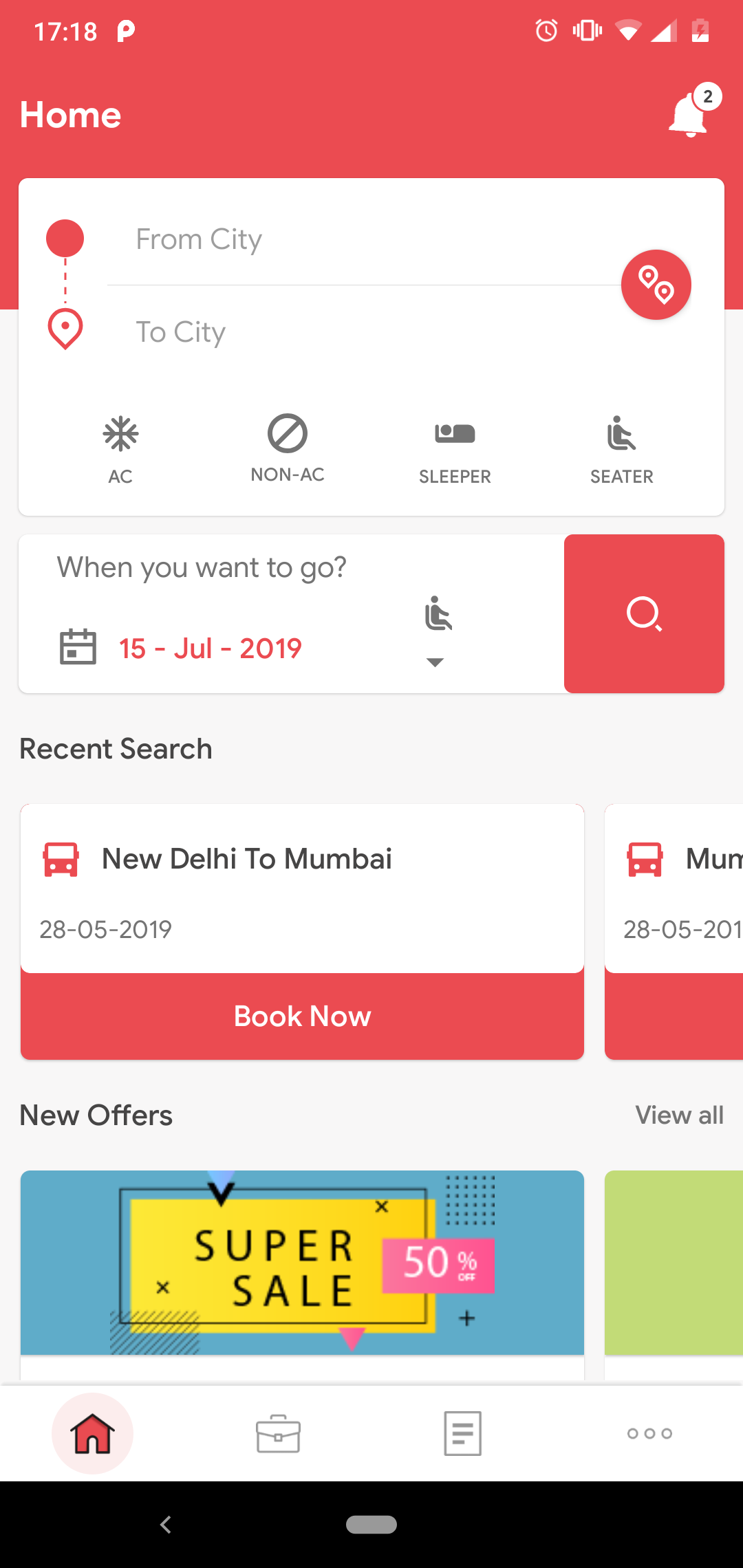 QIBus- Bus booking android app ui template