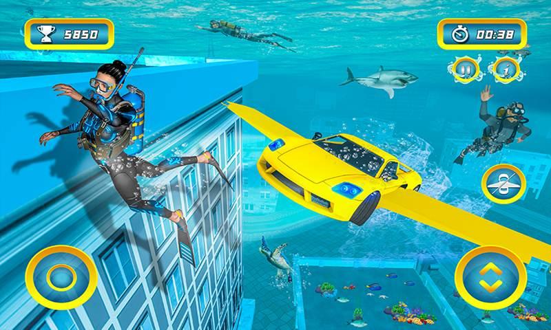 Underwater City Ultimate Flying Car Stunt