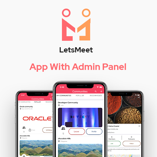LetsMeet - iOS & Android Community & Meetup App + Admin panel