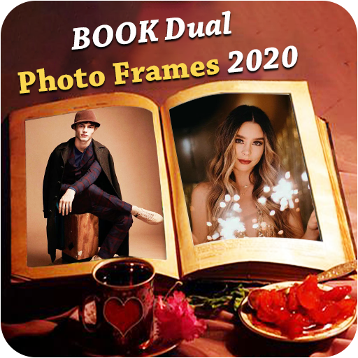 Book Dual Photo Frame - Dual book photo editor 📘