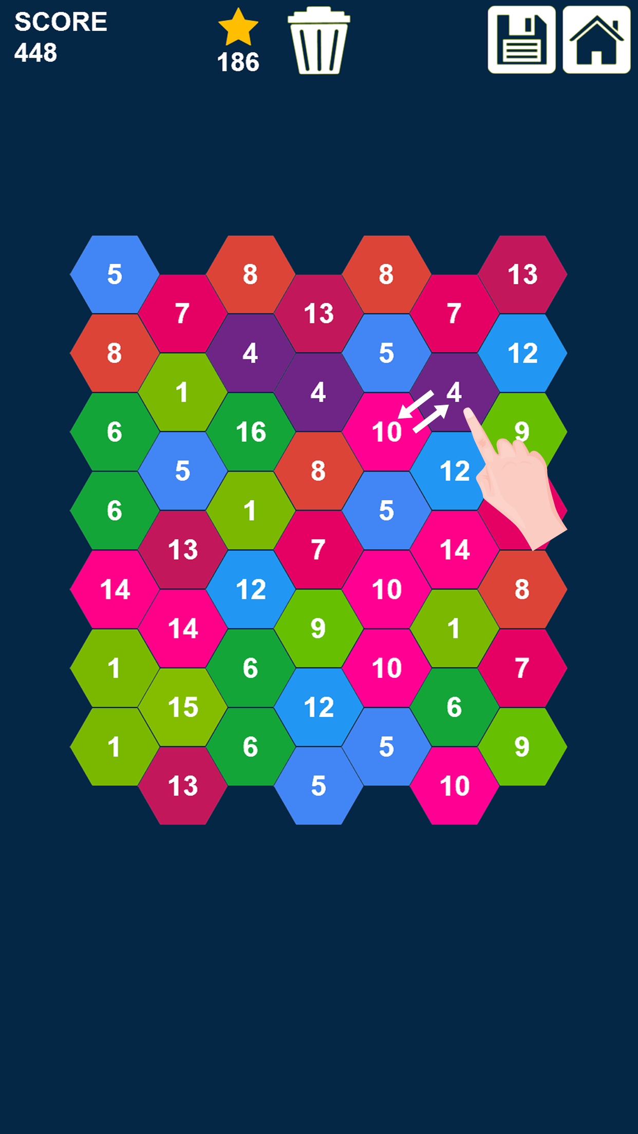 Hexagons: Swap and Merge Numbers