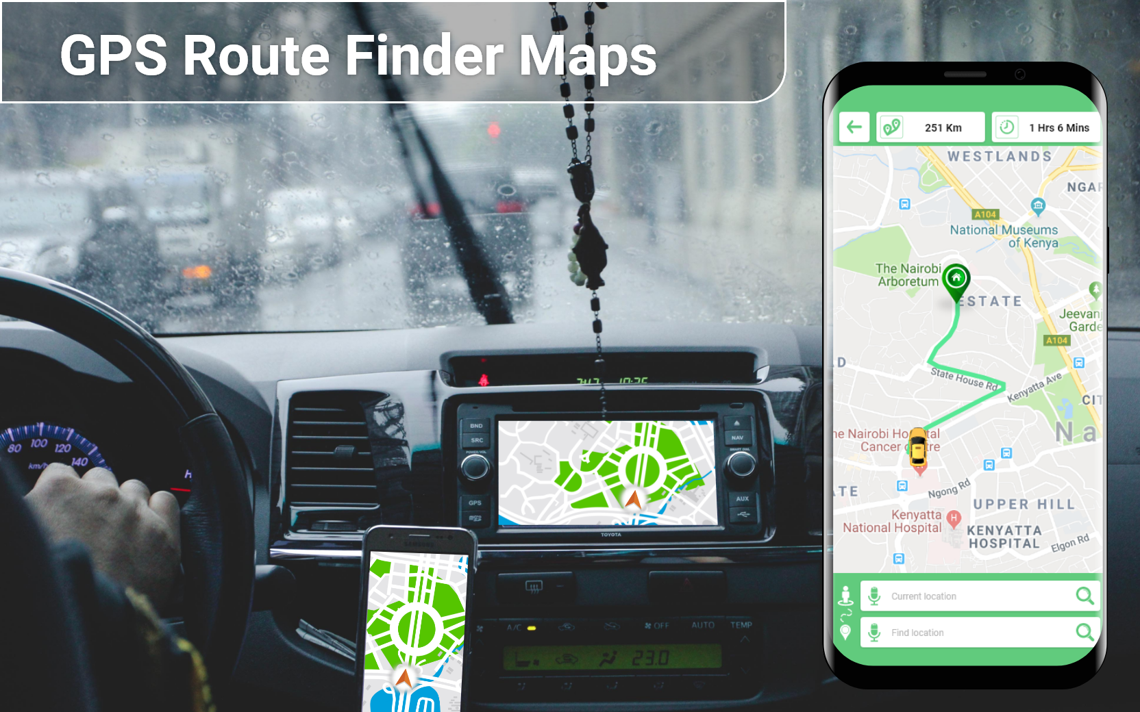 GPS Driving Route Navigation, Live Traffic & Maps