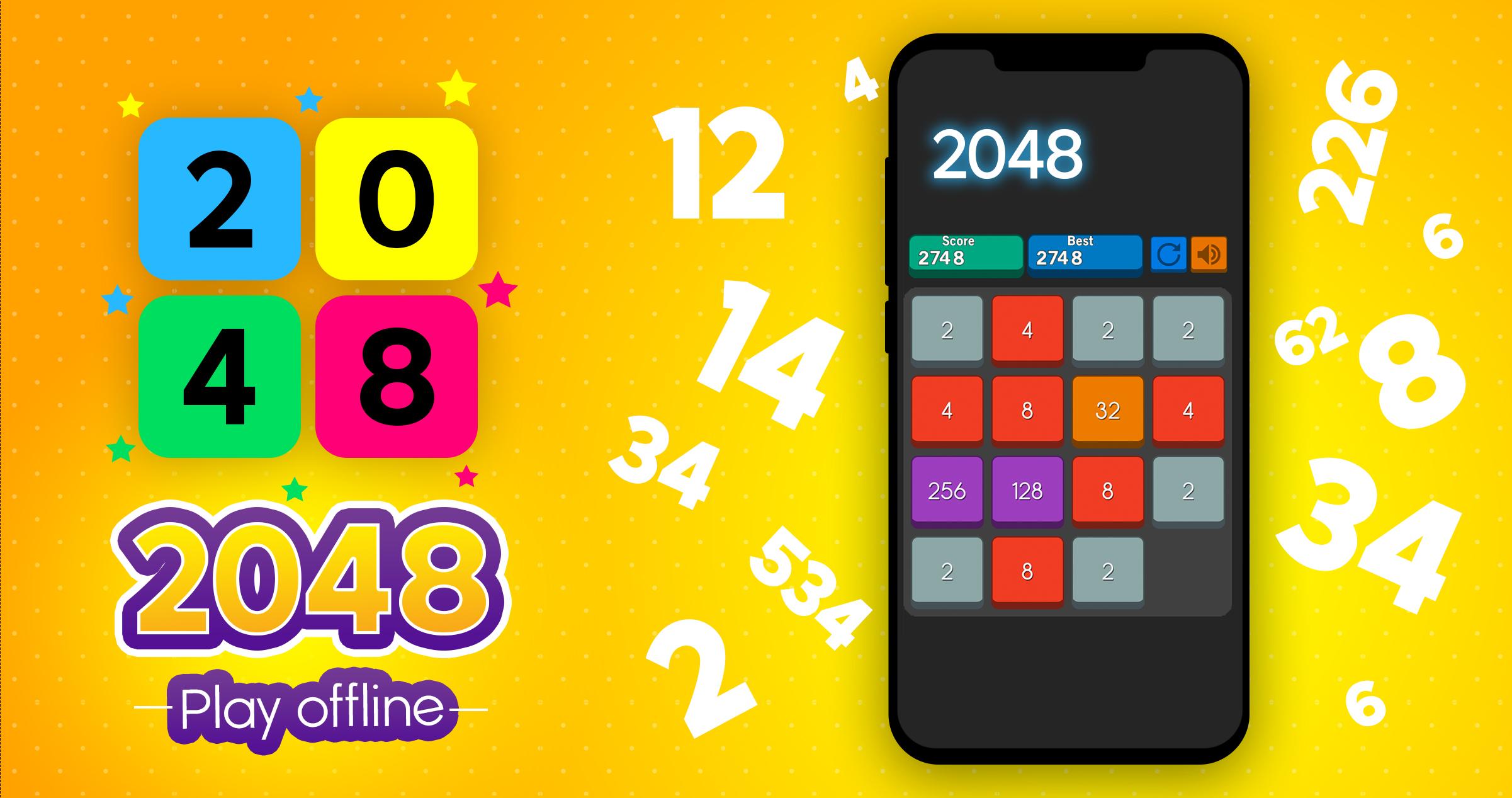 2048 Super Offline Infinite Tile Math Puzzle Game