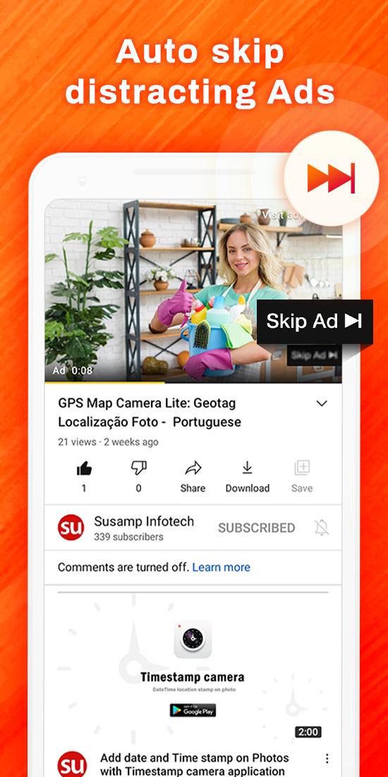 Skip ads for video stream: ad blocker & ad cleaner