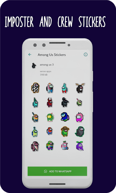 Among us skin stickers for Whatsapp Wastickerapps