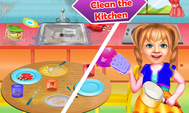 Sweet Baby Girl Cleaning Games 2021: House Cleanup