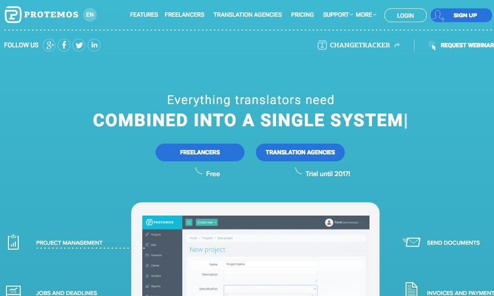 Protemos - translation project management system for freelancers and translation agencies.