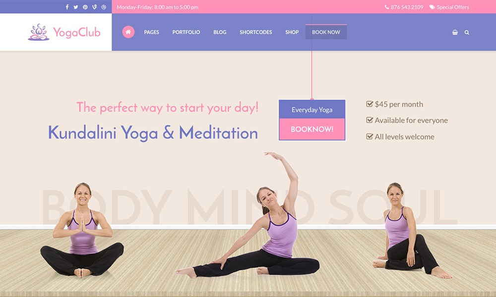 Yoga Club - Premium WordPress Theme