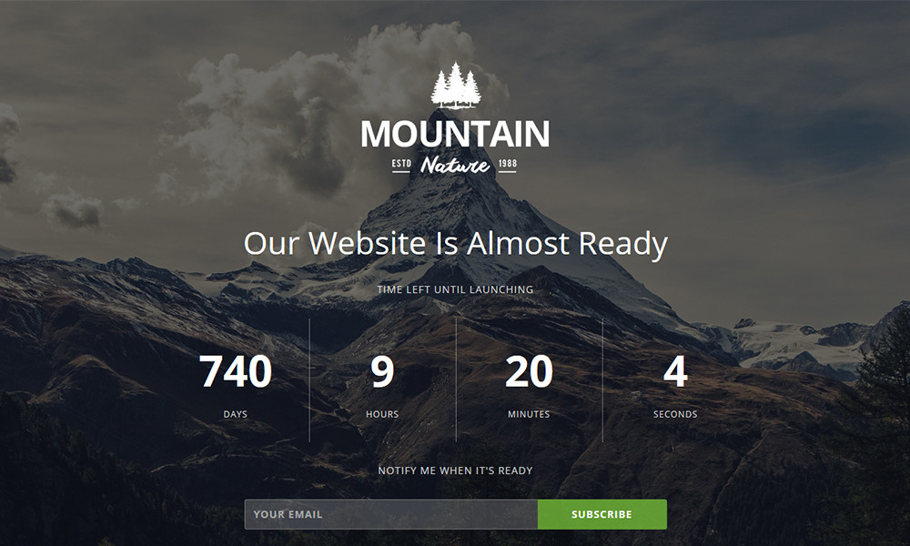 Mountain Responsive Coming Soon Theme