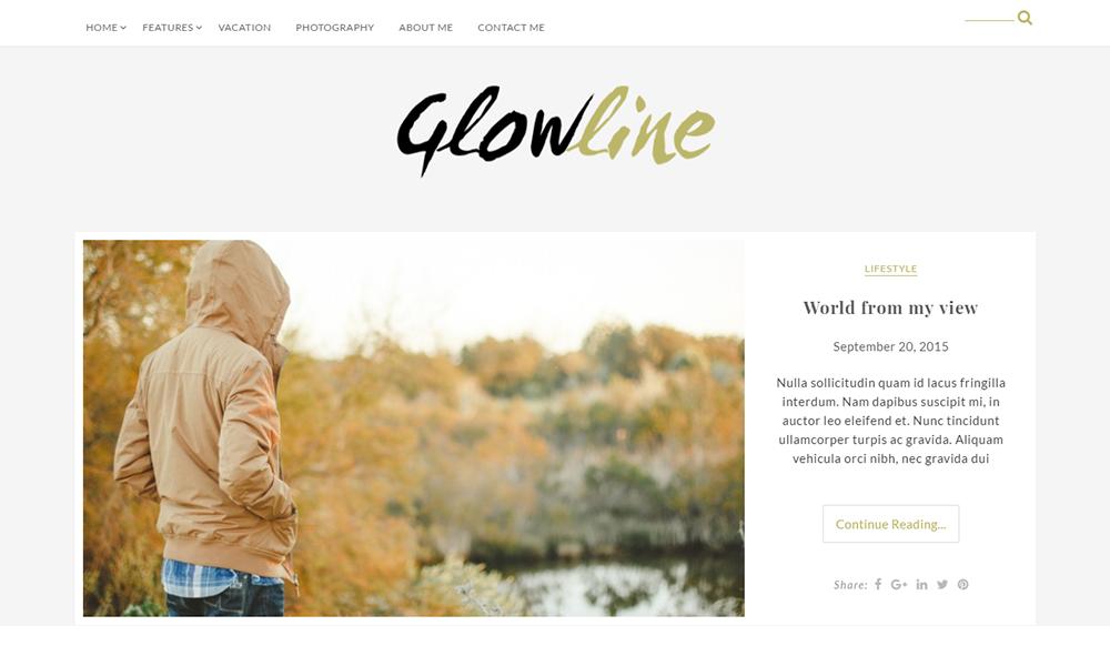 GlowLine Lite- Free Blogging Theme