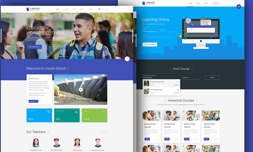 Lincoln Material Design Education WordPress Theme