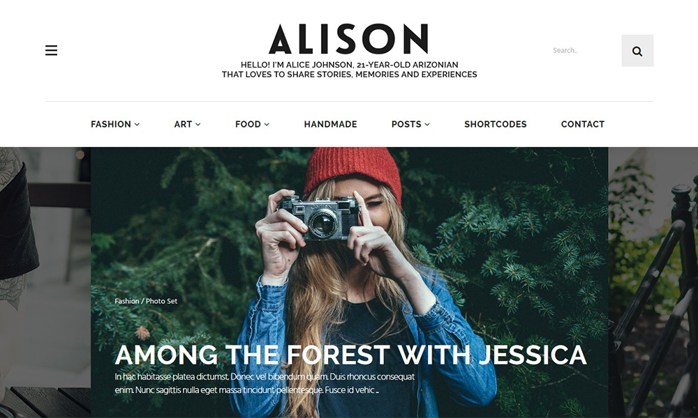 Alison Personal Blog WordPress Theme