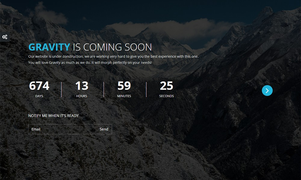 Gravity Responsive Coming Soon Theme