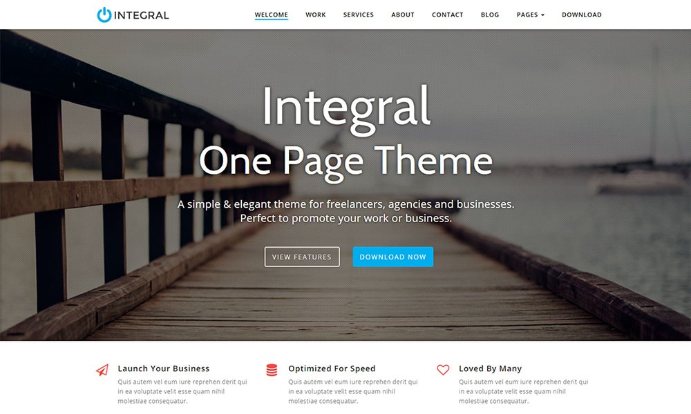Integral One-page Business Theme