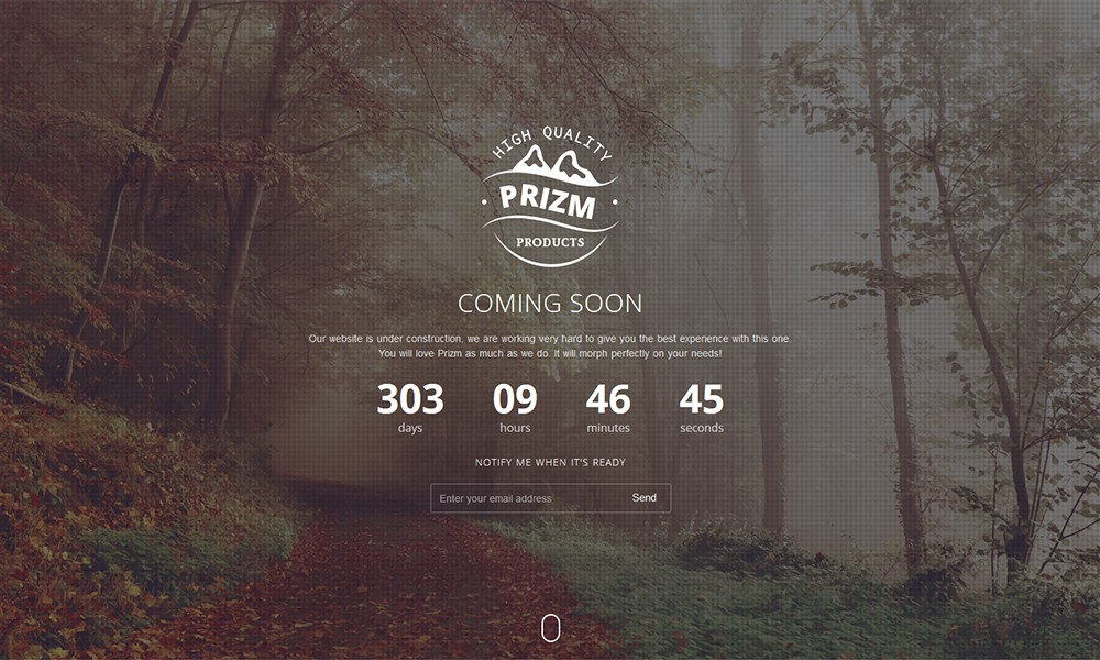 Prizm Responsive Coming Soon Theme