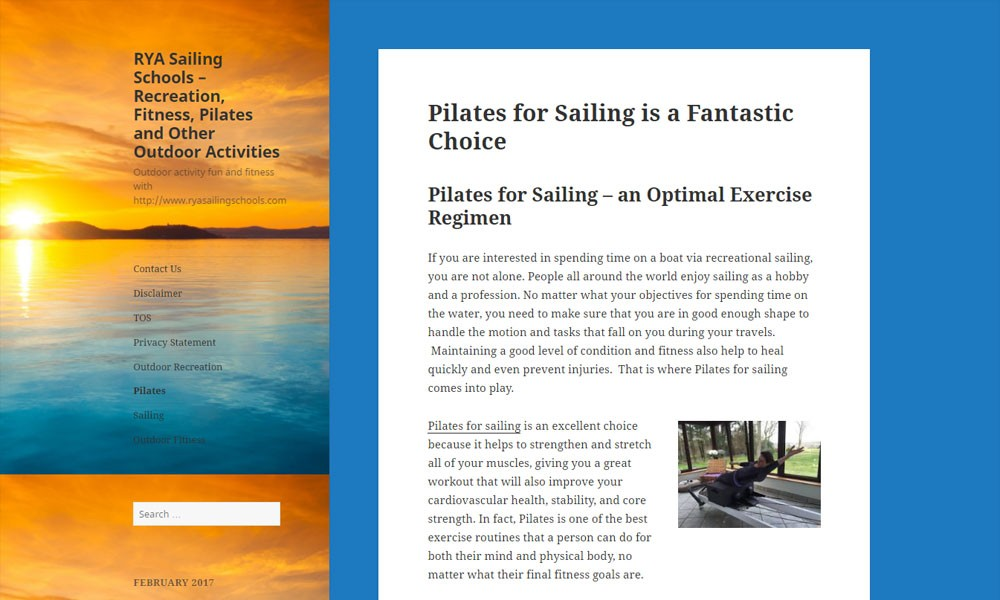 RYA Sailing Schools – Recreation, Fitness, Pilates and Other Outdoor Activities
