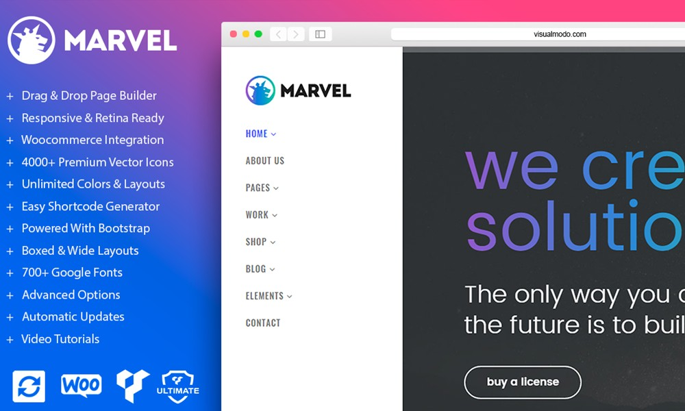 Marvel WordPress Theme - Vertical Navigation Menu Template